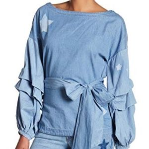 NWT Anthropologie Small Nanette Chambray Top Stars